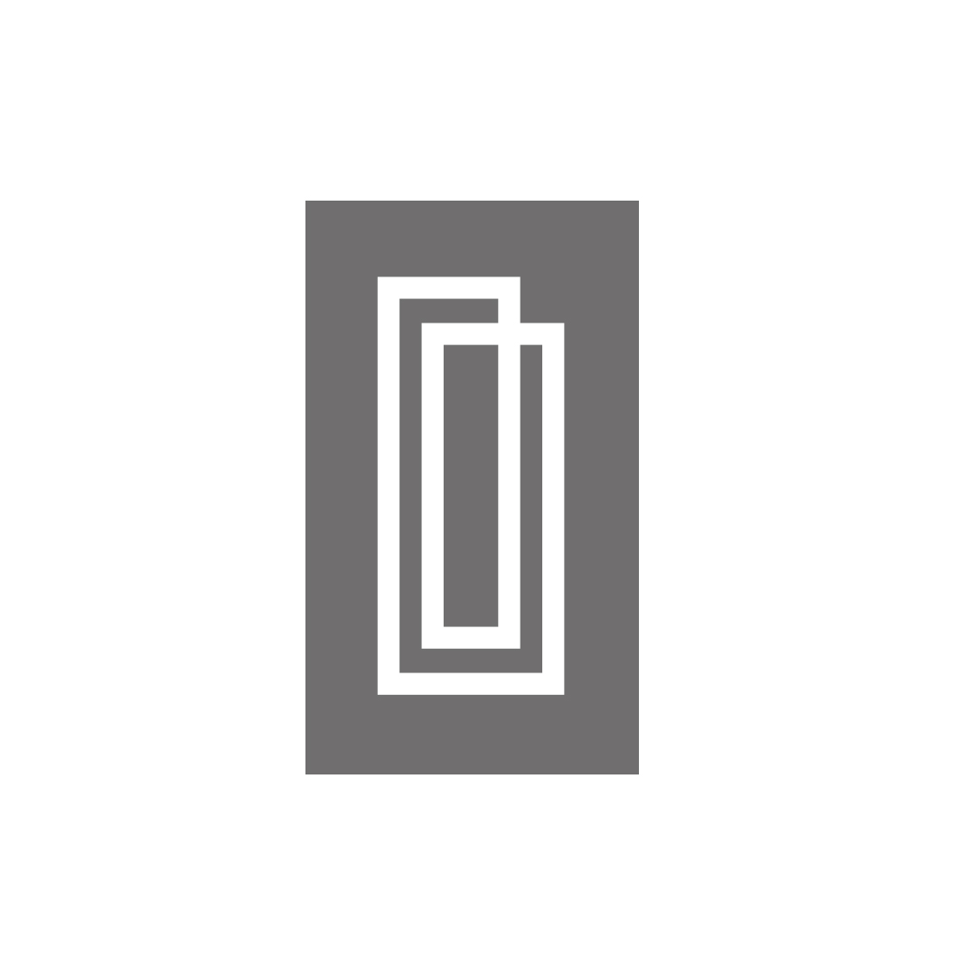 ICON private collection vertical symbol brand identity on grey background