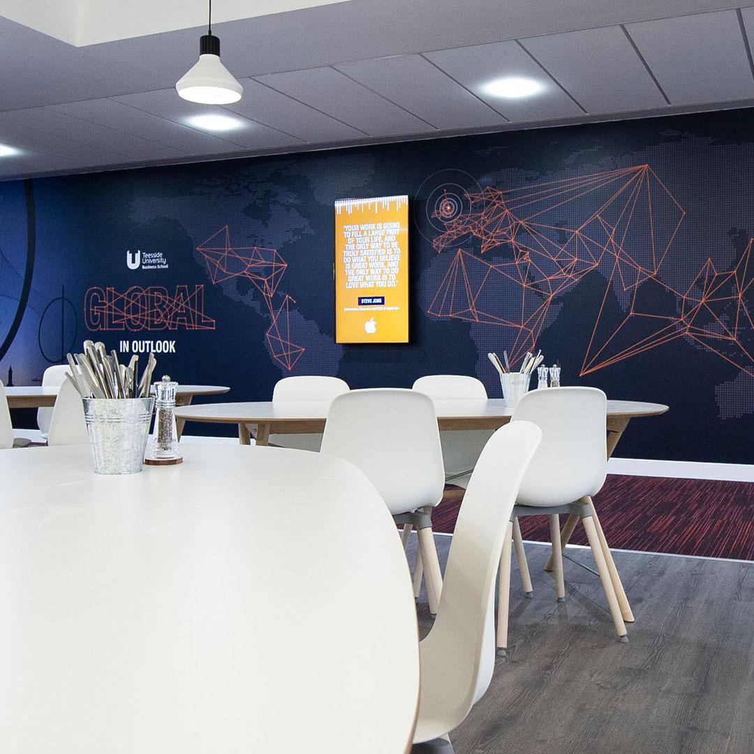 Teesside University Business School visual language interior wall design